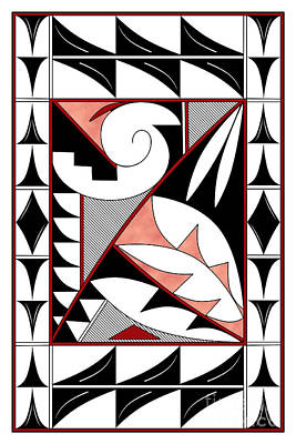 Digital Art - Southwest Collection - Design Four In Red by Tim Hightower