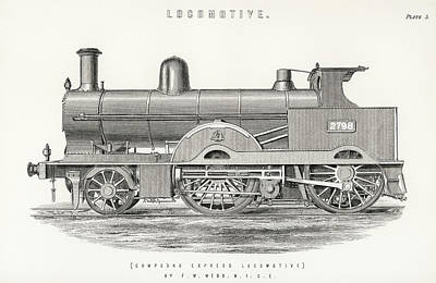 Steampunk Drawings - Design of an engine train and its compartments by Francis William Webb