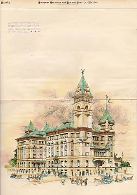 Design Of Bexar County Court House. San Antonio Tx. 1894 Art Print by James Riely Gordon
