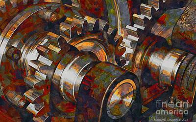 Michael C Geraghty Digital Art - Designer Pumpjack Macro6 - Watercolor - 23032016 by Michael Geraghty