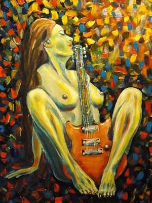 Nude Woman Guitar Painting - Desire by Charles Vaughn