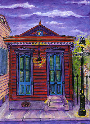 New Orleans Shotgun Houses Painting - Desire Street House by Catherine Wilson
