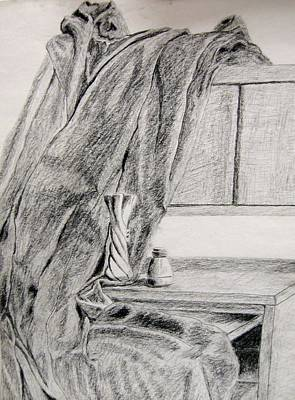 Desk And Curtain Art Print by Diana Prout