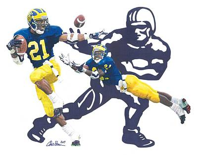 Drawing - Desmond Howard - Hello Heisman by Chris Brown