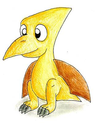 Drawing - Desmond The Pterodactyl by Jayson Halberstadt