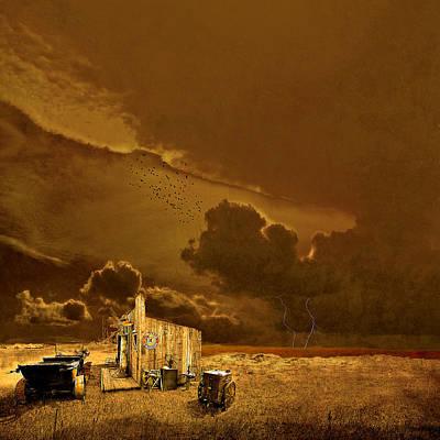 Rain Digital Art - desolate landscape - Oregon by Jeff Burgess