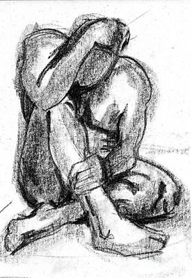 Male Nude Drawing Drawing - Despair by Gill Kaye