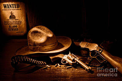 Outlaw Photograph - Desperado - Sepia by Olivier Le Queinec