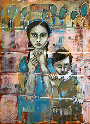 Portrait Mixed Media Painting - Desperate by Jane Spakowsky