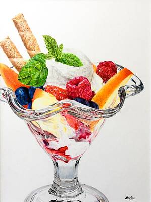 Raspberry Drawing - Dessert For A Lady by Martine Venis-Heethaar