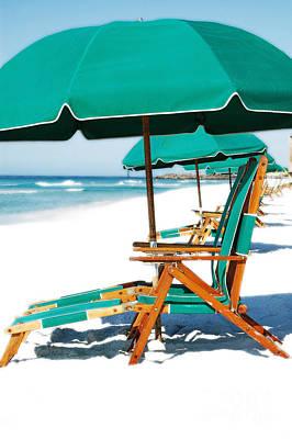 Photograph - Destin Florida Beach Chairs And Green Umbrella Vertical Diffuse Glow Digital Art by Shawn O'Brien