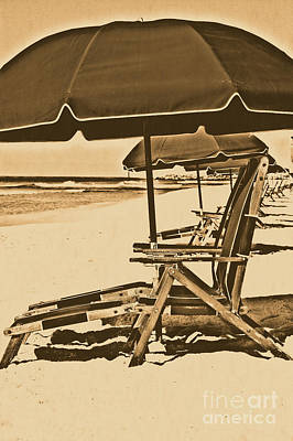 Photograph - Destin Florida Beach Chairs And Green Umbrella Vertical Rustic Digital Art by Shawn O'Brien