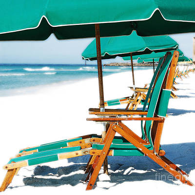 Photograph - Destin Florida Beach Chairs And Green Umbrellas Square Format Diffuse Glow Digital Art by Shawn O'Brien