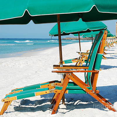 Photograph - Destin Florida Beach Chairs And Green Umbrellas Square Format by Shawn O'Brien
