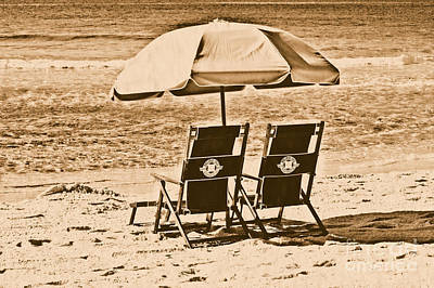 Photograph - Destin Florida Beach Chairs And Umbrella Rustic Digital Art by Shawn O'Brien