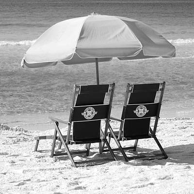 Photograph - Destin Florida Beach Chairs And Umbrella Square Format Black And White by Shawn O'Brien