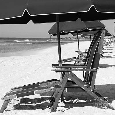 Photograph - Destin Florida Beach Chairs And Umbrellas Square Format Black And White by Shawn O'Brien