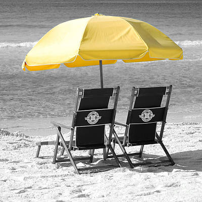 Photograph - Destin Florida Beach Chairs And Yellow Umbrella Square Format Color Splash Black And White by Shawn O'Brien