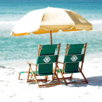 Photograph - Destin Florida Beach Chairs And Yellow Umbrella Square Format Diffuse Glow Digital Art by Shawn O'Brien