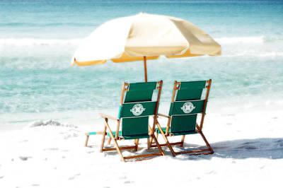 Photograph - Destin Florida Beach Chairs Umbrella And Blue Waters Diffuse Glow Digital Art by Shawn O'Brien