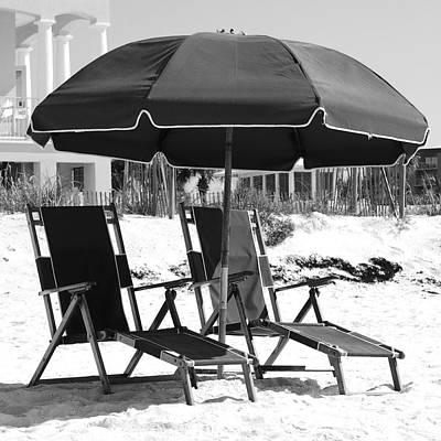 Photograph - Destin Florida Empty Beach Chair Pair And Green Umbrella Square Format Black And White by Shawn O'Brien