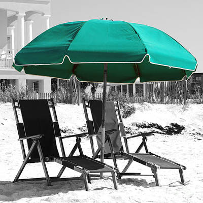 Photograph - Destin Florida Empty Beach Chair Pair And Green Umbrella Square Format Color Splash Digital Art by Shawn O'Brien