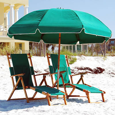 Photograph - Destin Florida Empty Beach Chair Pair And Green Umbrella Square Format by Shawn O'Brien