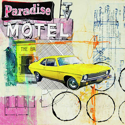 Automobiles Mixed Media - Destination Paradise by Elena Nosyreva