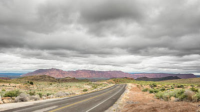 Leaden Sky Photograph - Destiny Beckons - Old Highway 91 - Nv by Steve Lagreca