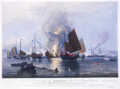 Chinese Junk Wall Art - Painting - Destroying Chinese War Junks by MotionAge Designs