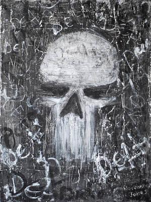 Grunge Skull Painting - Destructive Death by Roseanne Jones