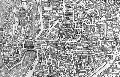 Paris Drawing - Detail From A Map Of Paris In The Reign Of Henri II Showing The Quartier Des Ecoles by French School