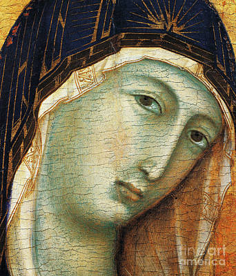 Medieval Painting - Detail From Madonna With Child And Six Angels by Duccio di Buoninsegna