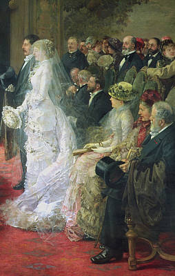Black Tie Painting - Detail From The Civil Marriage by Henri Gervex