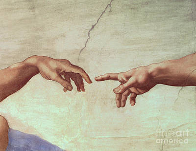 Genesis Painting - Detail From The Creation Of Adam by Michelangelo