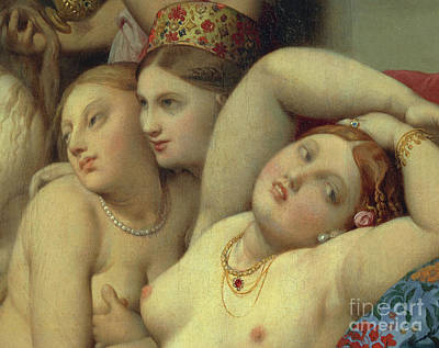 Concubine. Harem Girl Painting - Detail From Turkish Bath by Jean Auguste Dominique Ingres