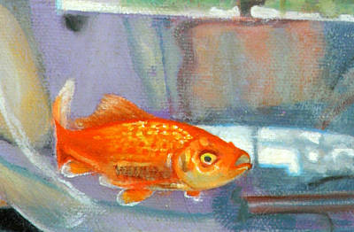 Painting - detail goldfish of Fishing by Anne Cameron Cutri