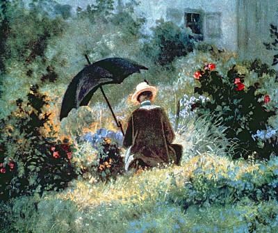 Detail Of A Gentleman Reading In A Garden Art Print