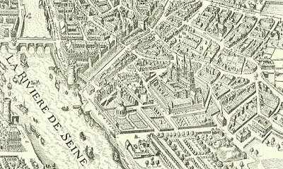 Old Country Roads Drawing - Detail Of A Vintage Map Of Paris by French School