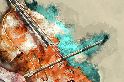Digital Art - Detail Of A Woman Playing Cello Art Painting Artprint by Michael Kuelbel