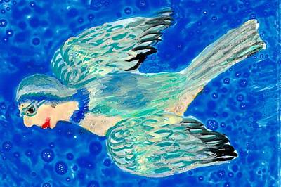 Sue Burgess Painting - Detail Of Bird People Flying Bluetit Or Chickadee by Sushila Burgess