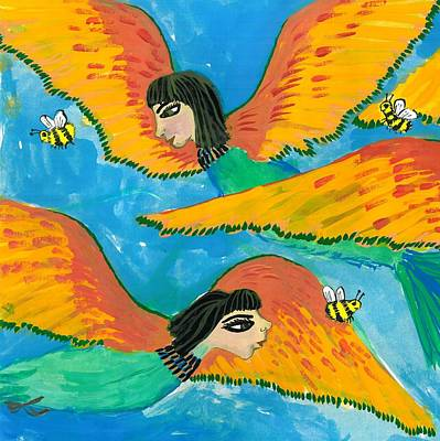 Half Bird Half Human Painting - Detail Of Bird People Little Green Bee Eaters Of Upper Egypt 1 by Sushila Burgess