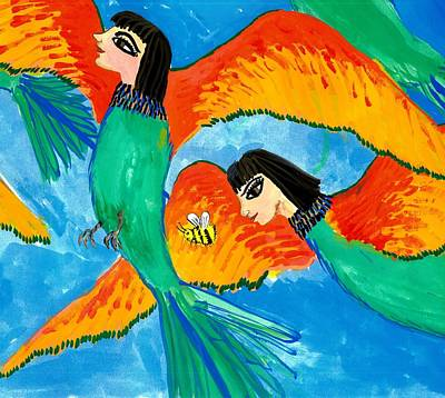 Half Bird Half Human Painting - Detail Of Bird People Little Green Bee Eaters Of Upper Egypt 2 by Sushila Burgess