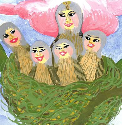 Sue Burgess Painting - Detail Of Bird People The Chaffinch Family Nest by Sushila Burgess