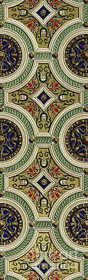 St Peters Basilica Painting - Detail Of Decoration On Mirror Of Vault In Sala Delle Storie by Paul Marie Letarouilly