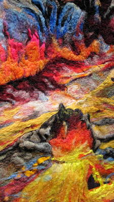 Needle Felting Tapestry - Textile - Detail Of Fire by Kimberly Simon