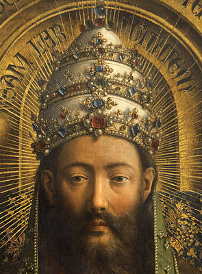 Jesus Christ Icon Painting - Detail Of God The Father by Van Eyck