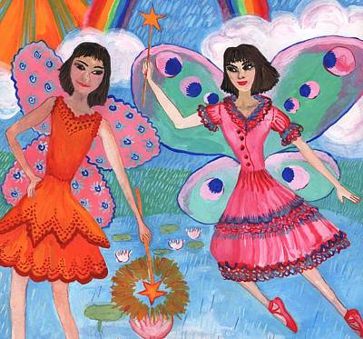 Sue Burgess Painting - Detail Of Lily Pond Fairies by Sushila Burgess