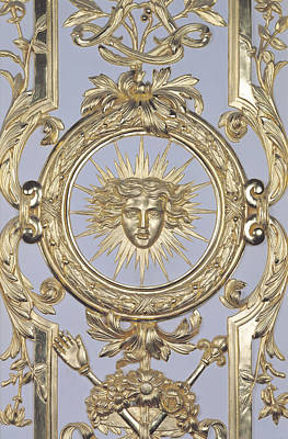 Detail Of Panelling Depicting The Emblem Of Louis Xiv From Versailles Art Print by Charles Le Brun