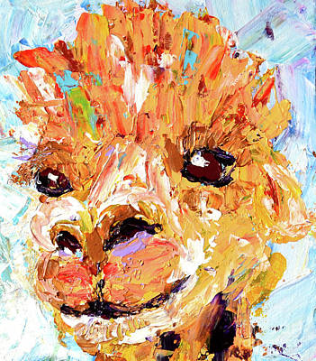 Detail Of Shorn Alpaca. Where's My Fleece? Art Print by Lynda Cookson